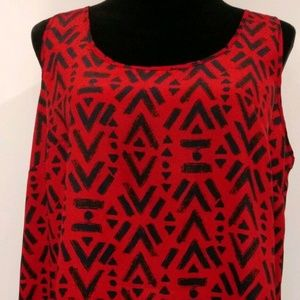 FADED GLORY Red/Blue Geo Print Sleeveless Tank Top